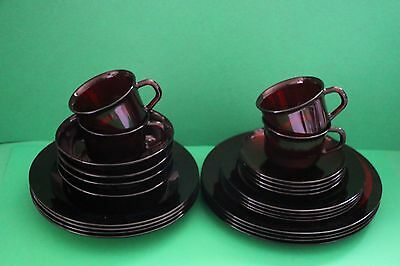 ARCOROC France Ruby Red 4 place settings Dinnerware Sets (24 Pieces) ~ Lot B