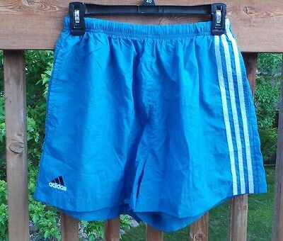 Vintage Adidas Running Shorts Light Blue Side Stripe Nylon Large