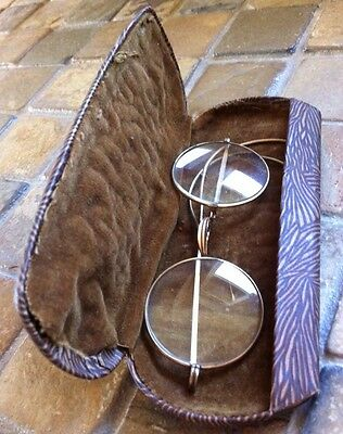1920's Wire Glasses & Case Ear Piece Broken