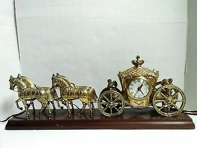 Vintage United Clock Co. Horse and Carriage Mantel Clock with Cherubs