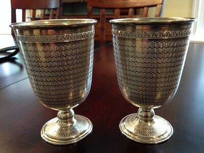 2 Vintage .900 Silver Goblets w/ Beautiful Intricate Engraving  298 Total Grams