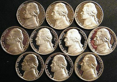 1980-1989 S Jefferson Nickel Gem Cameo Proof Set 10 Coin Decade US Mint Lot