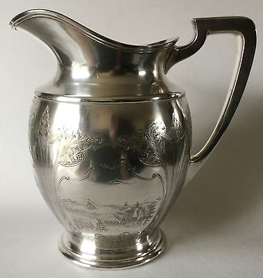 Antique HS Co Embossed Scenic Dutch Water Pitcher HARTFORD Sterling SP # 5100