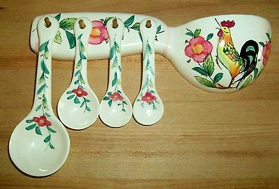 VTG Ceramic Wall Mount Measuring Spoons Set Hand Painted Rooster Kitchen Decor