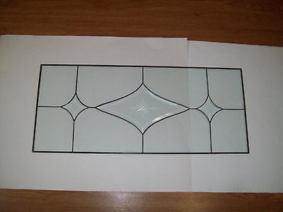 """Antique Leaded Clear Glass Panel, Beveled DESIGN  29 1/4 """" X 12 1/2""""  QUICK SHIP"""