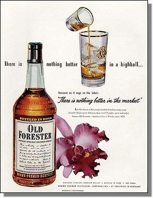 1951 Old Forester Highball - Iris Flower - Whiskey Ad
