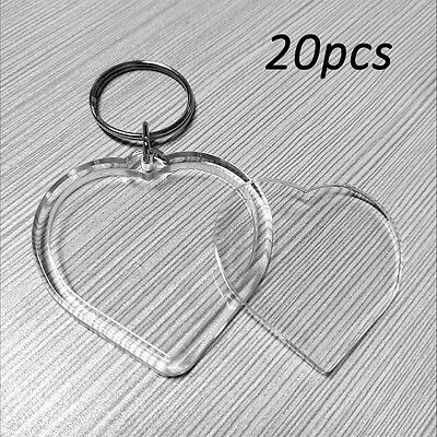 20x Blank Clear Acrylic Keyrings LOVE HEART Photo Picture Insert Frame Keychains