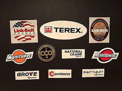 Lot Of 10 Manitowoc Grove Link Belt Terex Shuttlelift Etc Crane Hardhat stickers