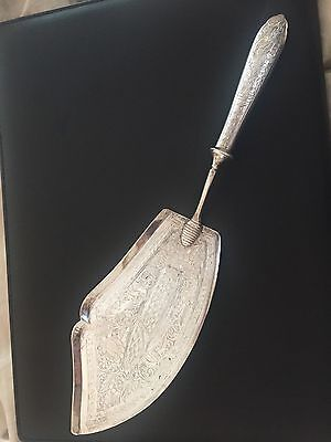 Antique Persian 84 Silver Large Pie Cake Or Fish Server Lifter Etched