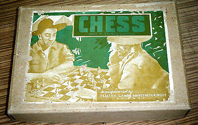 Vintage Boxed c1940's War Time Australian made Chess Pieces Set