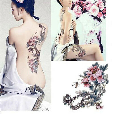 New Large Removable Stickers Body Temporary Tattoos Waterproof -- Flower Tree t