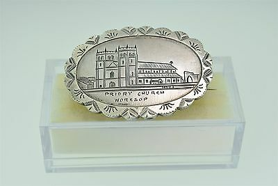Antique Hand-Engraved Priory Church Worksop Sterling Silver Brooch Circa 1875