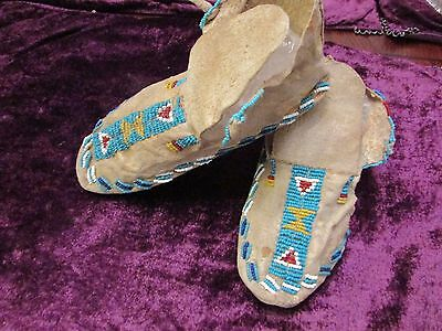 ANTIQUE CHEYENNE MOCCASINS  beautiful display brain tanned & sinew
