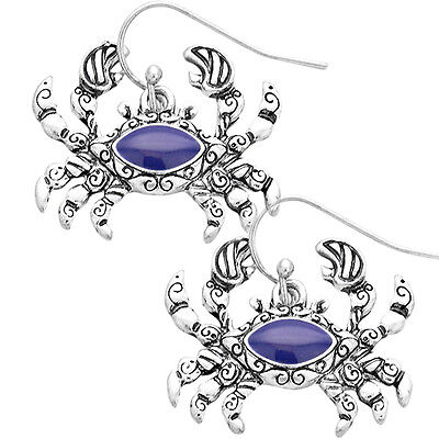 Antique Crab Earrings - Vine Filigree - Blue Enamel - Fish Hook - Silver Plated