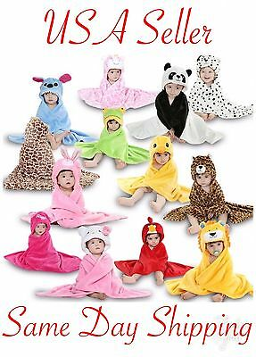 Hooded Baby Bath Fleece Blanket Towel Bathrobe Animal Lion Hello Kitty Giraffe