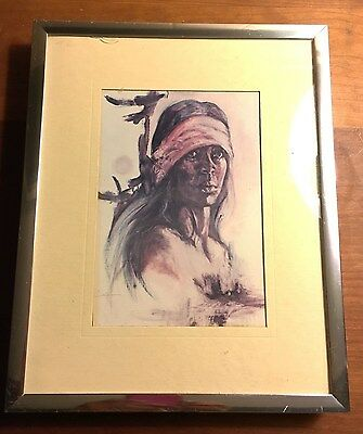 PROUD AMERICAN Litho Card Print Popo Ruby Lee Native American Framed Signed Smal