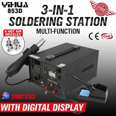 800W 3In1 YIHUA-853D Soldering Iron Rework Station Hot Air DC Power Supply SP