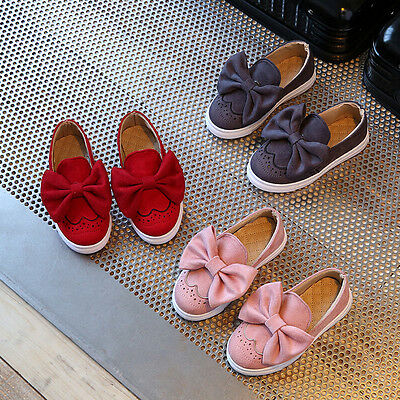 UK Kids Girls Slip On Pumps Large Bowknot Loafers Trainer Flat Casual Shoes Size
