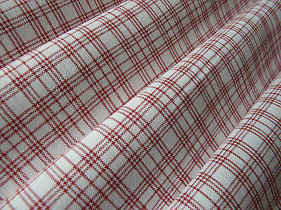 1900s Red small check gingham linen fabric organic v.g.c.