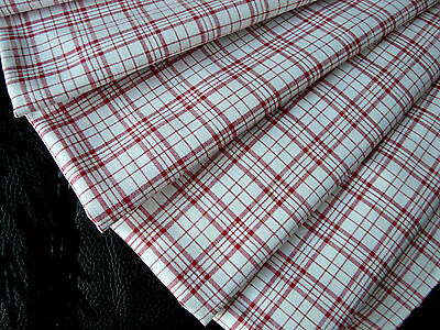 Antique Red check gingham linen fabric organic from 1900s  exc.cond