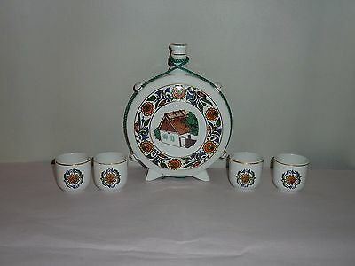 Vintage Hollohaza Hungary Liquor Decanter & Cups Bottle