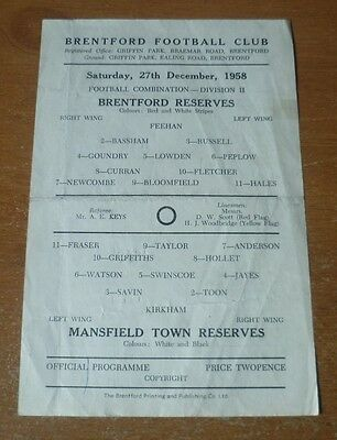 Brentford v Mansfield Town, 1958/59 - Football Combination (Reserves) Programme.