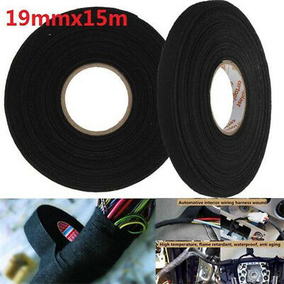 15m x 19mm x 0.3mm Black Adhesive Cloth Fabric Tape Cable Looms Wiring Harness t