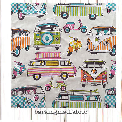 ROSE /& HUBBLE CERISE VW STYLE CAMPERVAN FABRIC 100/% COTTON 112CM WIDE HALF METRE
