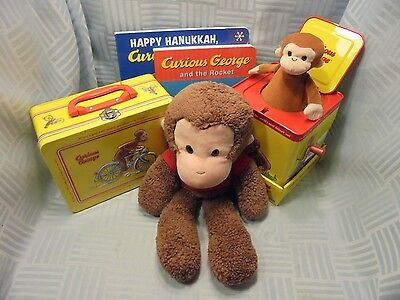Curious George Collectors Lot Lunch Box + Books + Plush + Monkey in Music Box