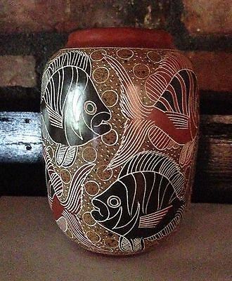 Nicaraguan Art Pottery Handcrafted Fish Vase Signed by Silvio Potosme Gallego
