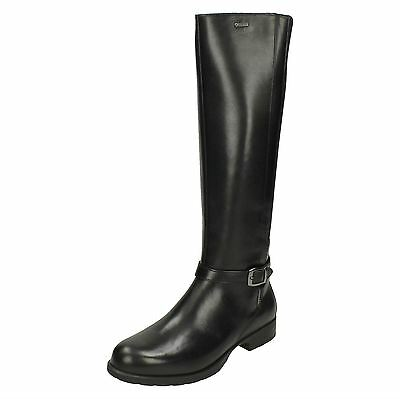 Ladies Clarks Leather Zip Gore Tex Long Knee High Riding Boots Cheshunthi Gtx