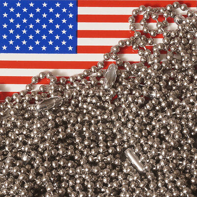 """24/"""" Inch Military Spec Stainless Steel Army Dog Tag 2.4mm Ball Chain Lot"""