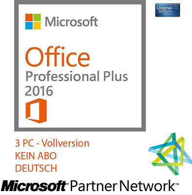 microsoft office 2016 professional plus 1pc vollversion 32 64bit ms partner 128 eur 14 50. Black Bedroom Furniture Sets. Home Design Ideas