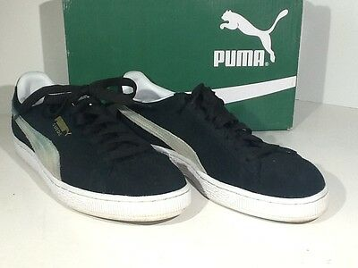 PUMA Classic Suede Men's US Sz 9M Black/White Skate Sneakers Shoes X4-1209