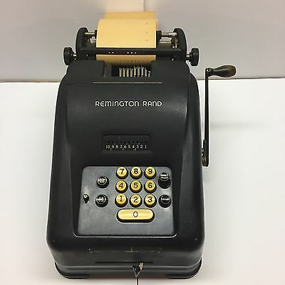 Remington Rand 10 Key Adding Machine W/Pull Arm and Paper Clean Unit Vintage