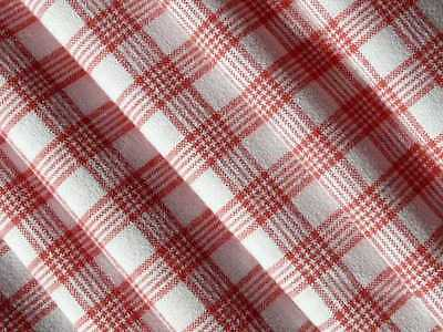 Vintage woven cotton linen fabric with Red white gingham check from the 1900s