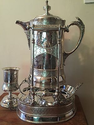 Antique Wilcox Victorian Silver Plated Tilting Water Pitcher With Goblet