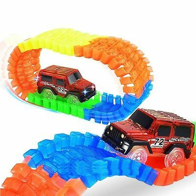 New 56 Pieces Amazing Race track Bend Flex Car Glow Light Up Toys Gift