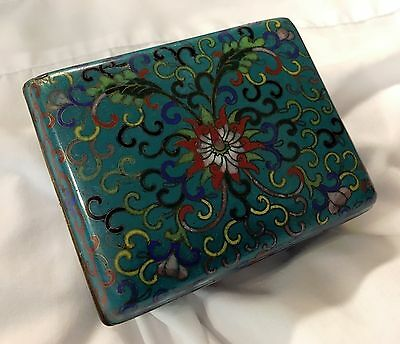 VTG Beautiful 19C Chinese Cloisonne Floral Enamel Cigarette Jewelry Footed Box
