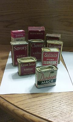 vintage kitchen spice tins  1940s and 50s