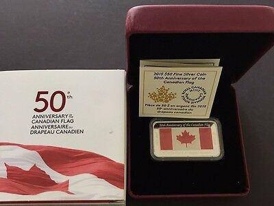 2015 Canada 1.5 oz Silver $50 Anniversary of the Canadian Flag Rectangular Coin