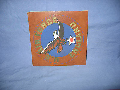 Original  Wwii  U.s.  Air Force England Leather Hand Painted Patch