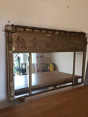 Victorian 19th Century Pine & Gesso Overmantle Mirror Fireplace Oak 19th C Old