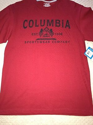 New Mens Columbia Shirt Size M Red With Logo On Front Short Sleeve