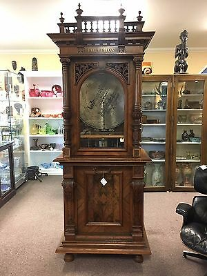 """Polyphon Coin Opp Double Comb 24.5"""" Disc Player in Large Ornate Case"""
