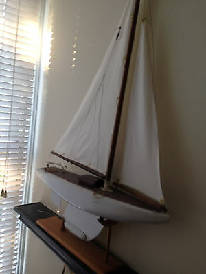 "Vintage 1950's Pond Boat Toy Yacht - 20"" with Lead Keel"