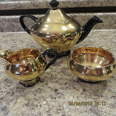 "Royal Winton Tea Set With Teapot Cream & Sugar  ""rare"" Gold With Black Accents"