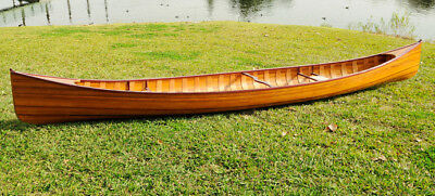 Cedar Wood Strip Built Canoe Wooden Boat 18' Ft with Ribs Woodenboat USA