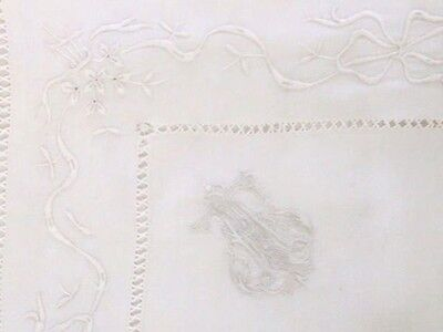 """Gorgeous Antique French Linen Pillowcase Monogram """"AF"""", floral embroidery"""