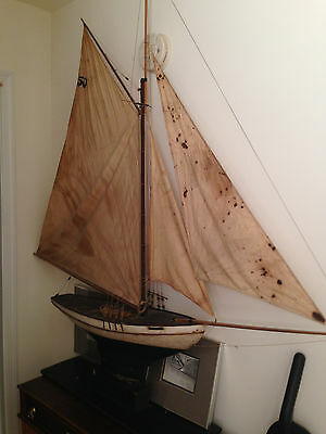 Vintage Antique Pond Boat Yacht Lead Keel  Sail Boat Reported to be 1900's